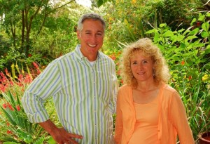 Me and Joe Lamp'l in my garden shooting an episode of Growing a Greener World