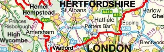 Watford , Abbots Langley , Berkamsted, Bushey, Chesham, Croxley Green,  Hemel Hempstead ,  Rickmansworth , Oxhey,