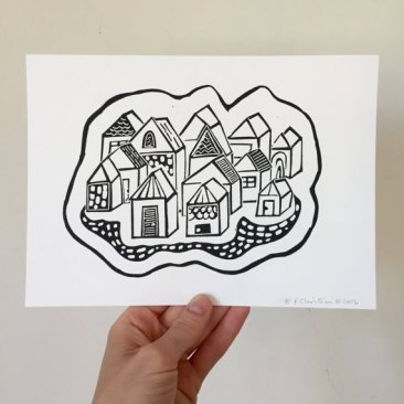 'Little Village', lino cut print