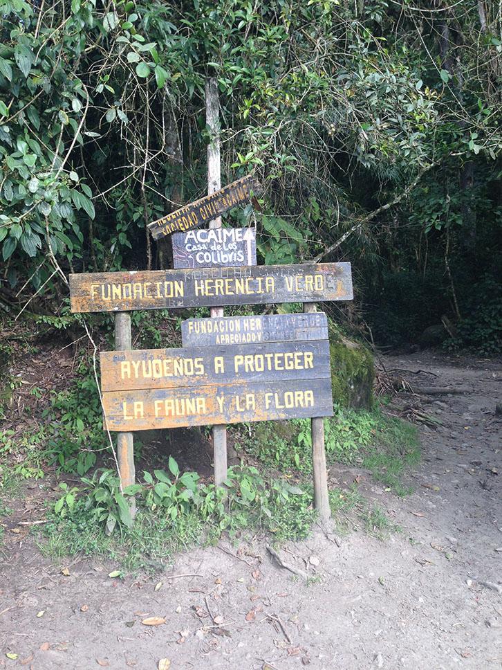 Vallée de Cocora, Panneaux pour la réserve Acaime