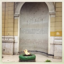 Eternal flame for WWII, shells from the 90s Civil War