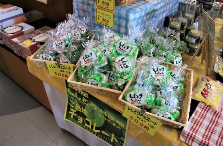 以特產青辣椒(ししとう,shishito)特製的巧克力