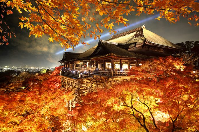 Kiyamizu-dera Temple in Autumn Season Light-up Event