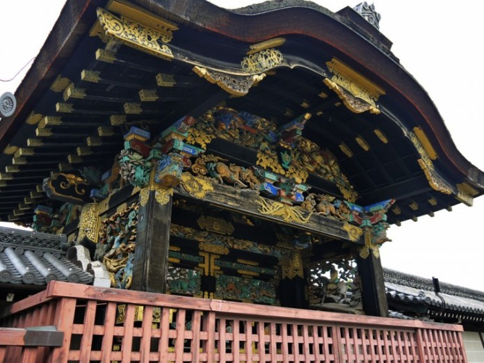 The ornately decorated Tang Gate of Nishi-Honganji Temple