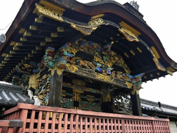 The ornately decorated Tang Gate of Nishi-Honganji Temple