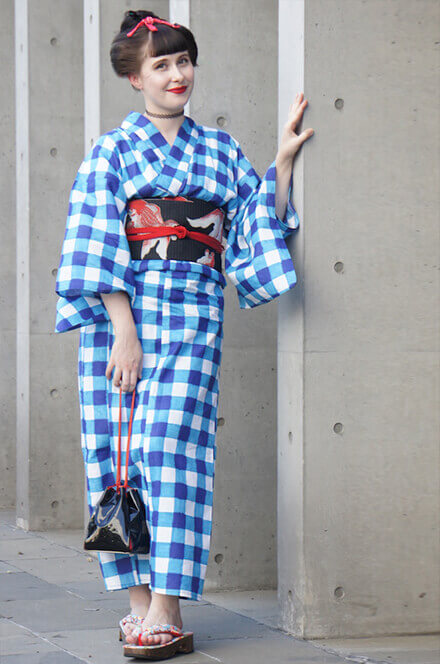 """""""The blue color makes me feel refreshed even on hot summer days, and fish are a specific summer motif in the kimono world! The checkered design is modern, yet transmits a retro atmosphere."""""""