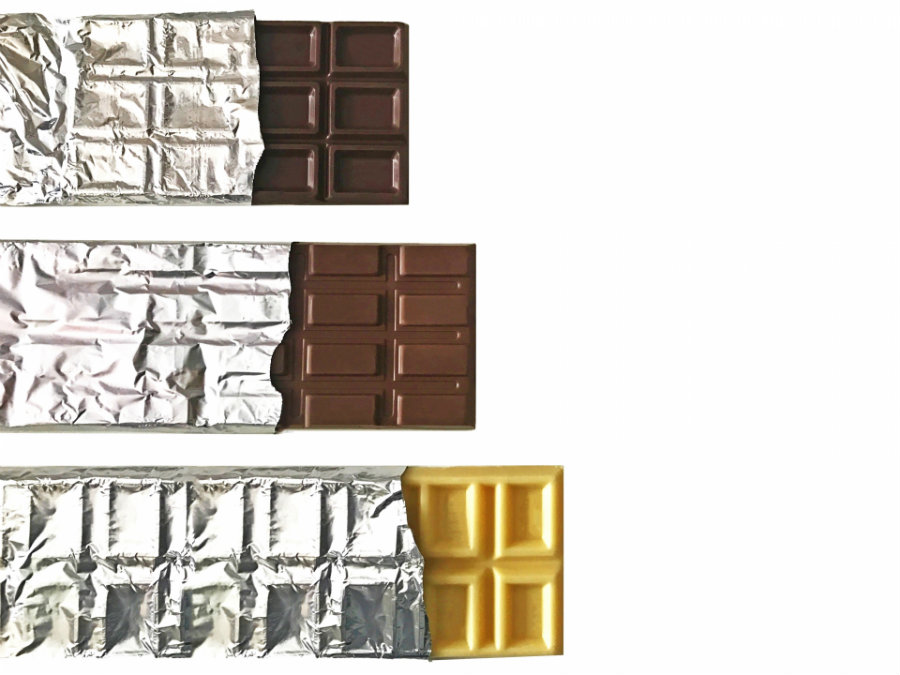 three different chocolates