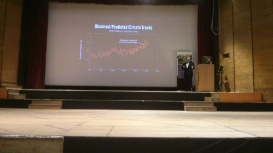 Here he is trying to show Hansens's predictions from 1988 and observed temperature, unsure why he does not display all the record. No citation given on dataset.