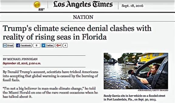 L.A. Times climate science denial article instead shows the Times clearly denying well established climate science