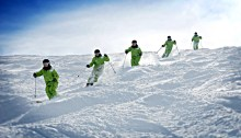 Ben Cavet skiing the moguls