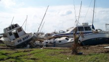 Hurricane Ike damage at Port Arthur, TX - Pleasure Island near the docks.
