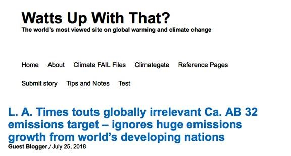 "The L  A Times ignores climate science to push ""California's"