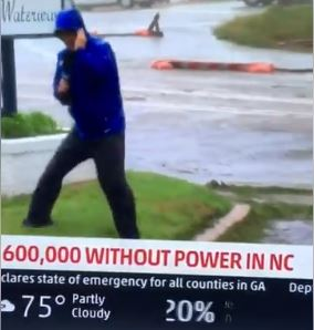 Hilarious! @weatherchannel reporter fakes intensity of