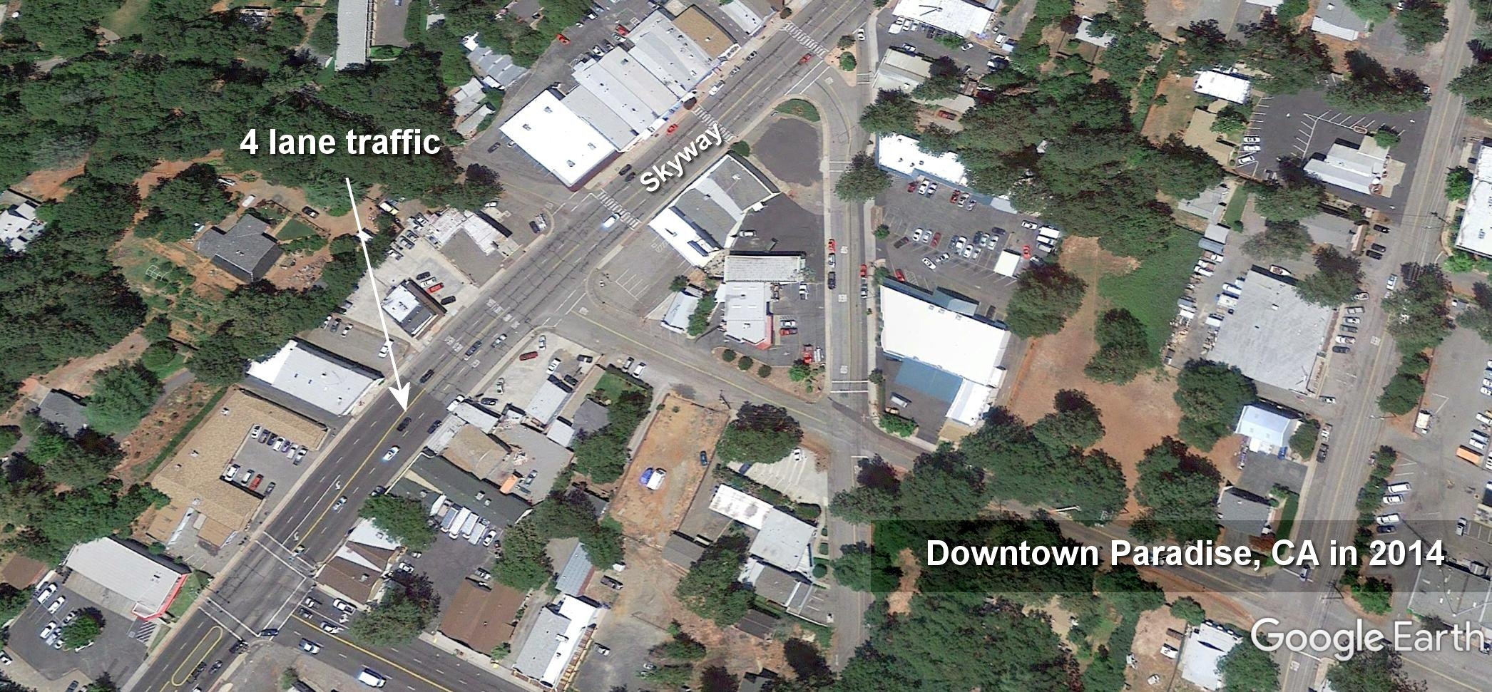 2015 Paradise downtown street project reducing 4 lanes to 2