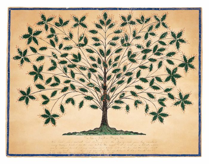 Hannah Cohoon, Tree of Life or Blazing Tree, 1845