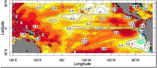 Part of the Pacific Ocean is not warming as expected, but