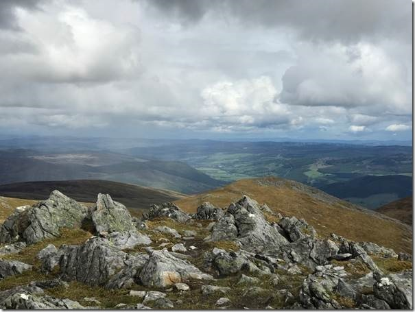 On the summit of Meall nan Aighean (3200 ft), above Loch Lyon in the Scottish Highlands