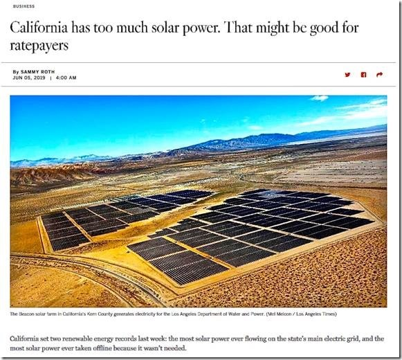 L  A  Times article on excess California solar incredibly