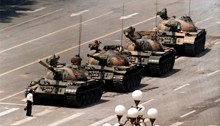 Man standing up to a Tank in Tiananmen Square