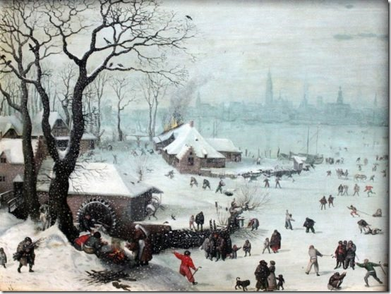 1575 Winter Landscape with Snowfall near Antwerp by Lucas van Valckenborch.Städel Museum/Wikimedia Commons