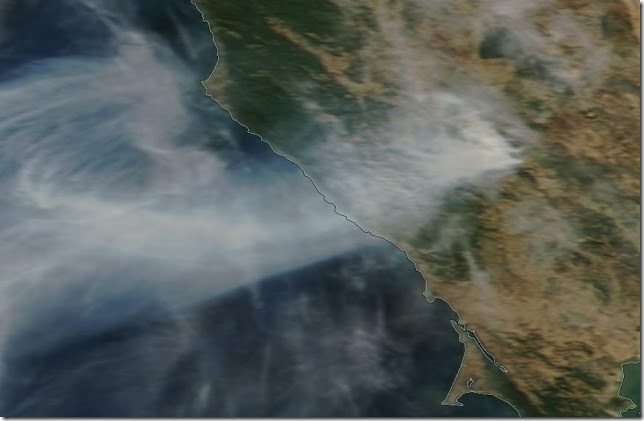 NASA MODIS satellite image of the Kincade Fire (north of San Francisco) yesterday around noon