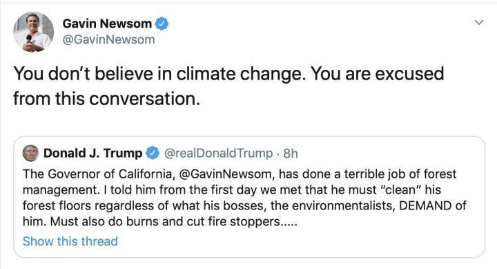 Gavin Newsom to President Trump Tweet