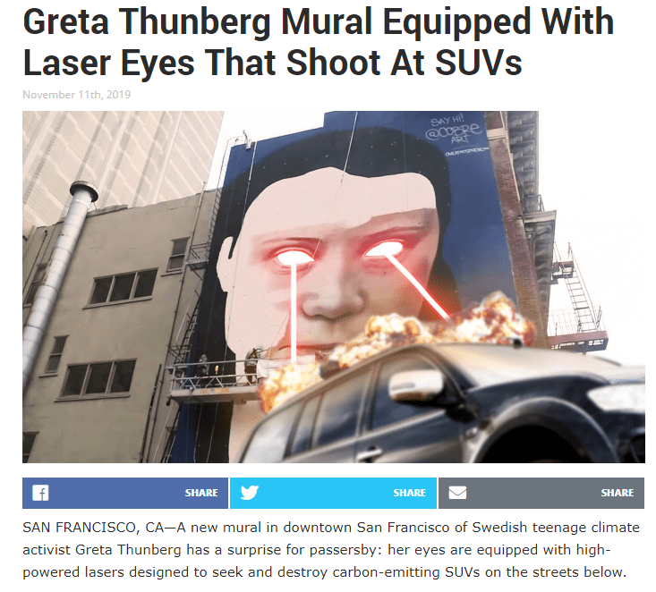 "Monday Mirthiness – the Greta mural in SFO causes ""climate change"""