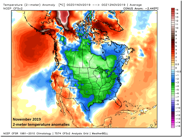 This is one of the coldest starts to the month of November across the nation since the middle 1990's. Map courtesy Weather Bell Analytics, NOAA