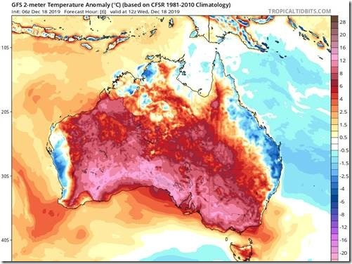 Figure 1 Australia December 18, 2019 temperature anomalies.