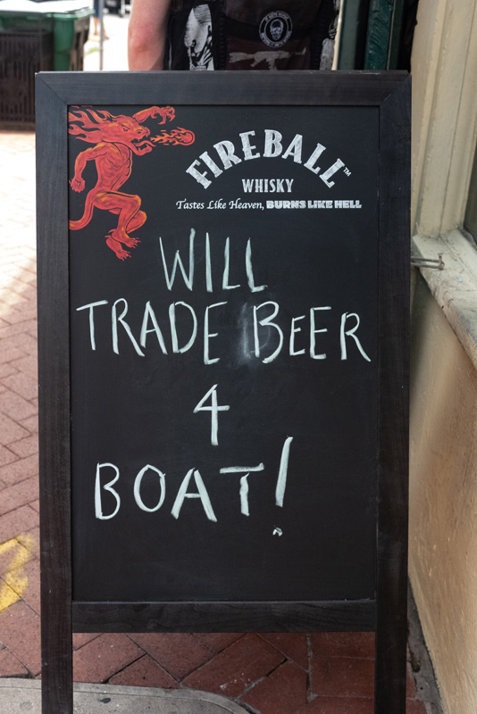 Humor during hurricane will trade beer for a boat Bourbon Street