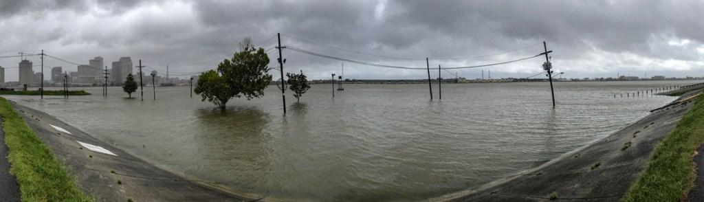 A panorama of the Mississippi River in flood