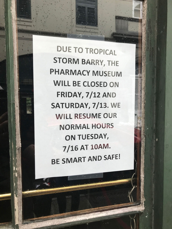 Tropical Storm Barry Hurricane Barry closes New Orleans museums