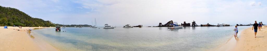 a panoramic shot of the Tangalooma wrecks