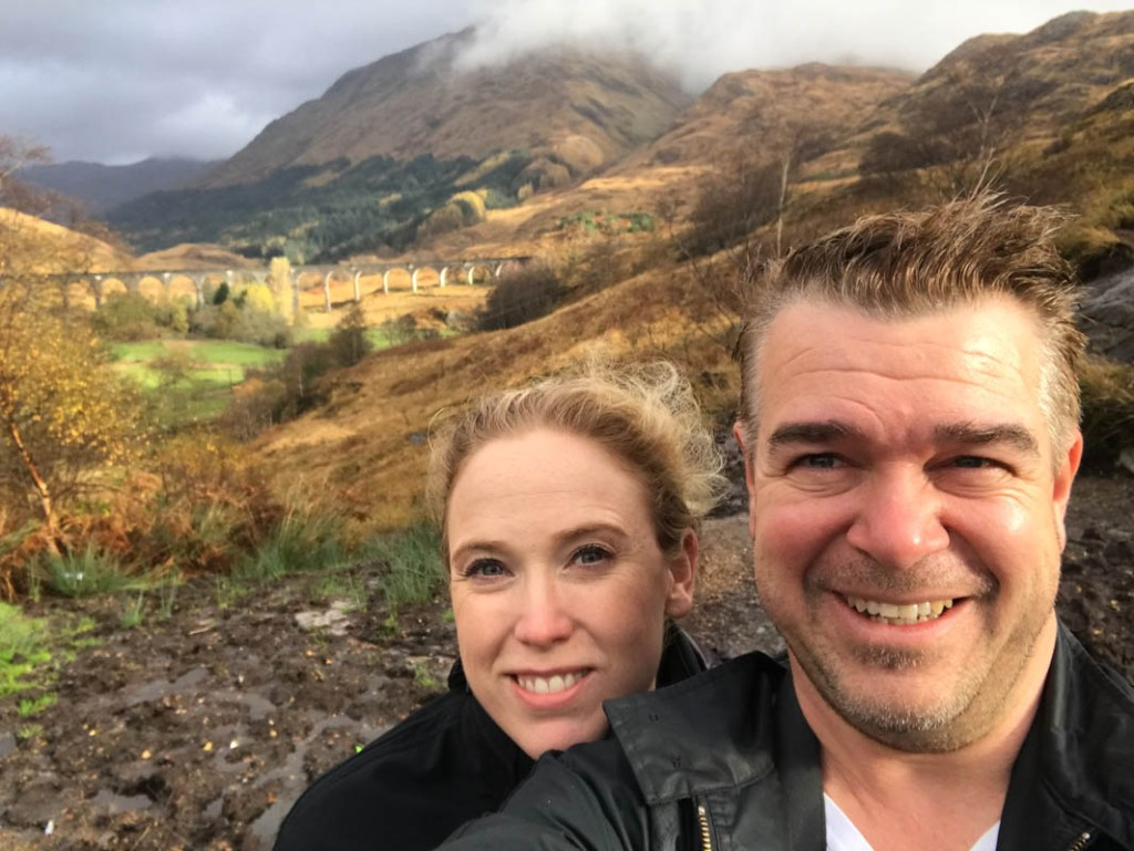 Bernie and Jess Watt on a Scotland road trip to Glenfinnan