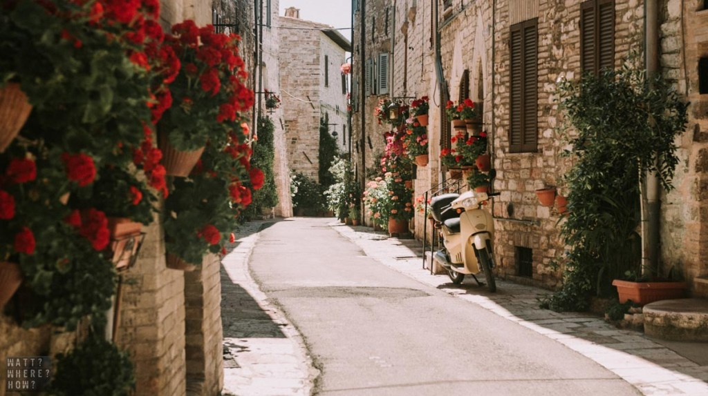 The narrow streets of Assisi Italy can't fit cars, but it makes the place much more peaceful.