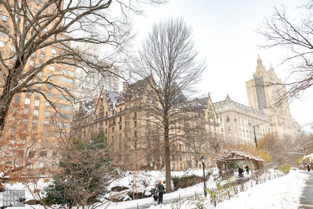 The Dakota Apartments sprinkled with fresh snow.