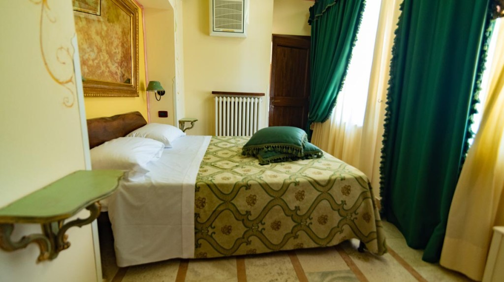 Our room at the farm stay in Assisi is spacious and comfy.