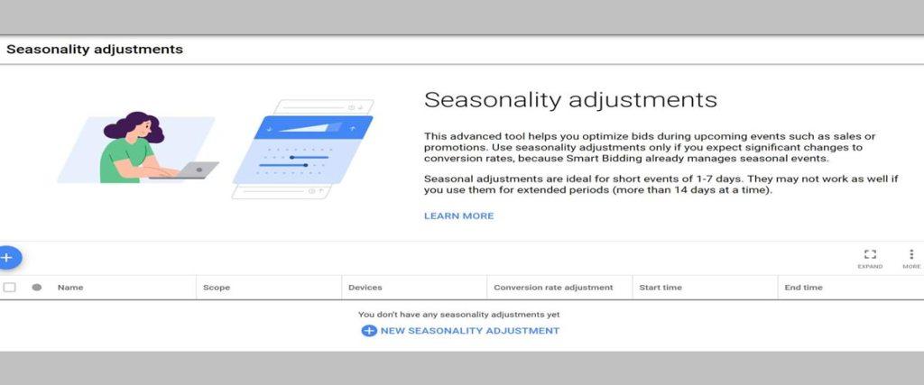 Crear un ajuste de estacionalidad en Google Ads