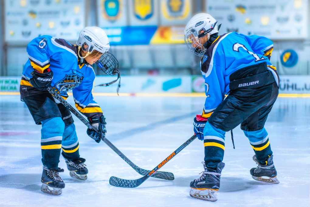 two hockey players on rink