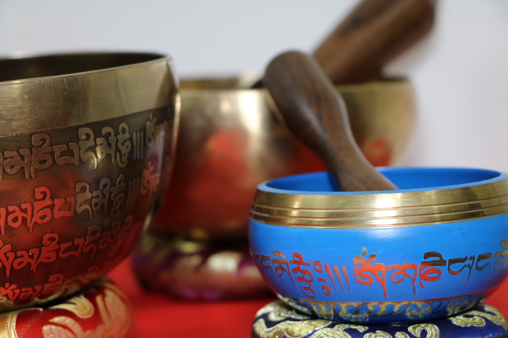 Blue Tibetan sound bowls with other Brass Bowls