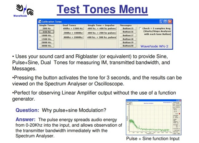 Test Tones Menu