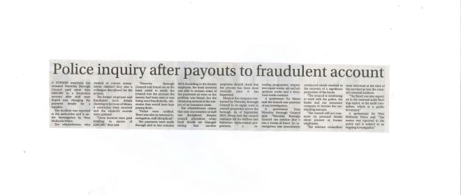 15.10.09 - Police inquiry after payouts to fraudlent account