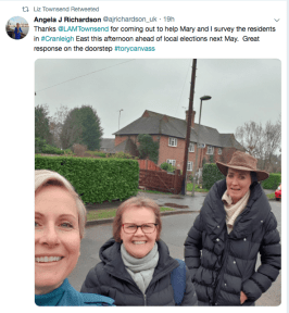 They're off nice and early in Cranleigh? Campaigning for the 2019 local elections.