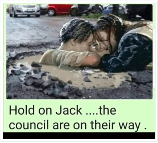 Pothole pic Hold on Jack