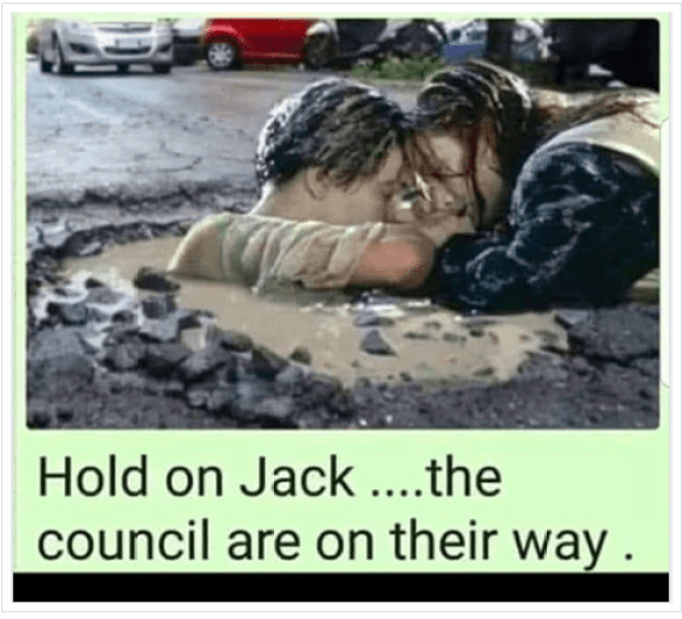 Pothole pic Hold on Jack