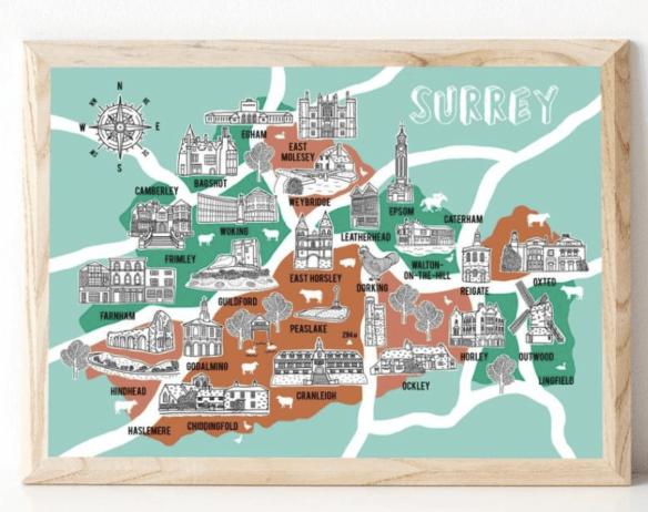 Unitary Authority Map of Surrey