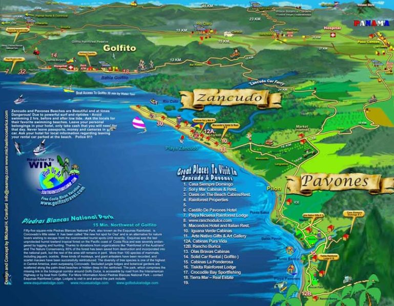 Surfing Pavones Costa Rica Map