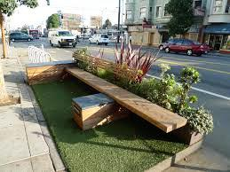 A parklet located in a street parking spot