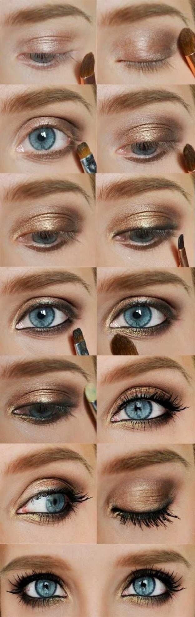 how to apply gold eyeshadow for blue eyes - wavy haircut