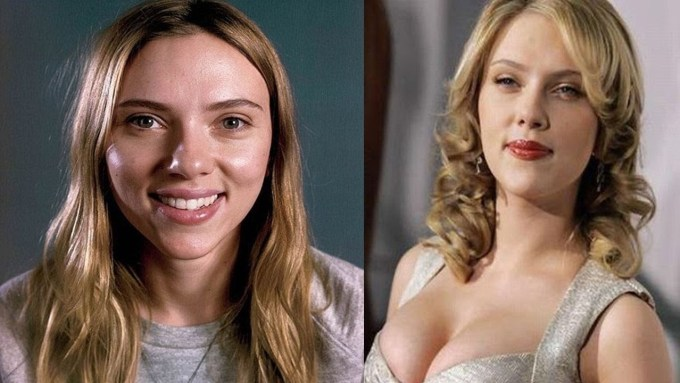 hollywood actresses before and after makeup - wavy haircut